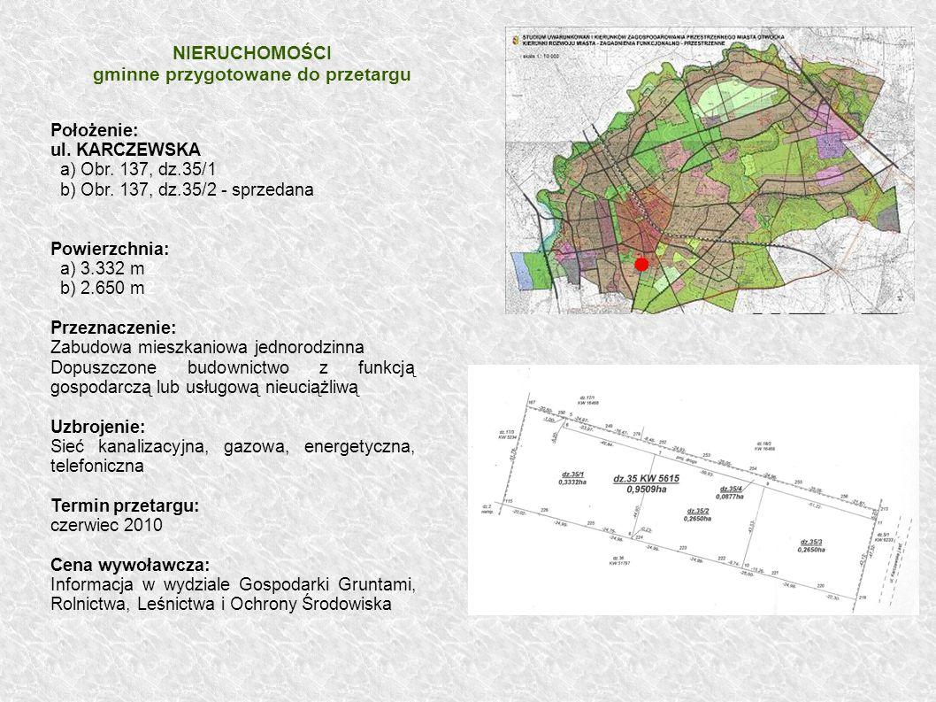 NIERUCHOMOŚCI gminne przygotowane do przetargu
