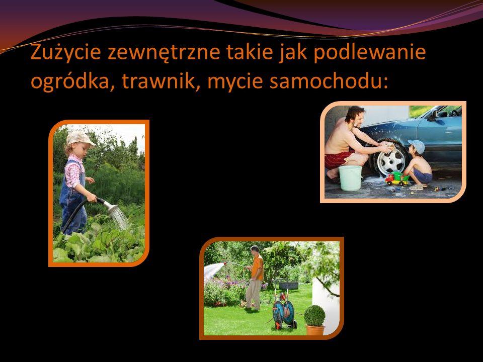 Zużycie zewnętrzne takie jak podlewanie ogródka, trawnik, mycie samochodu:
