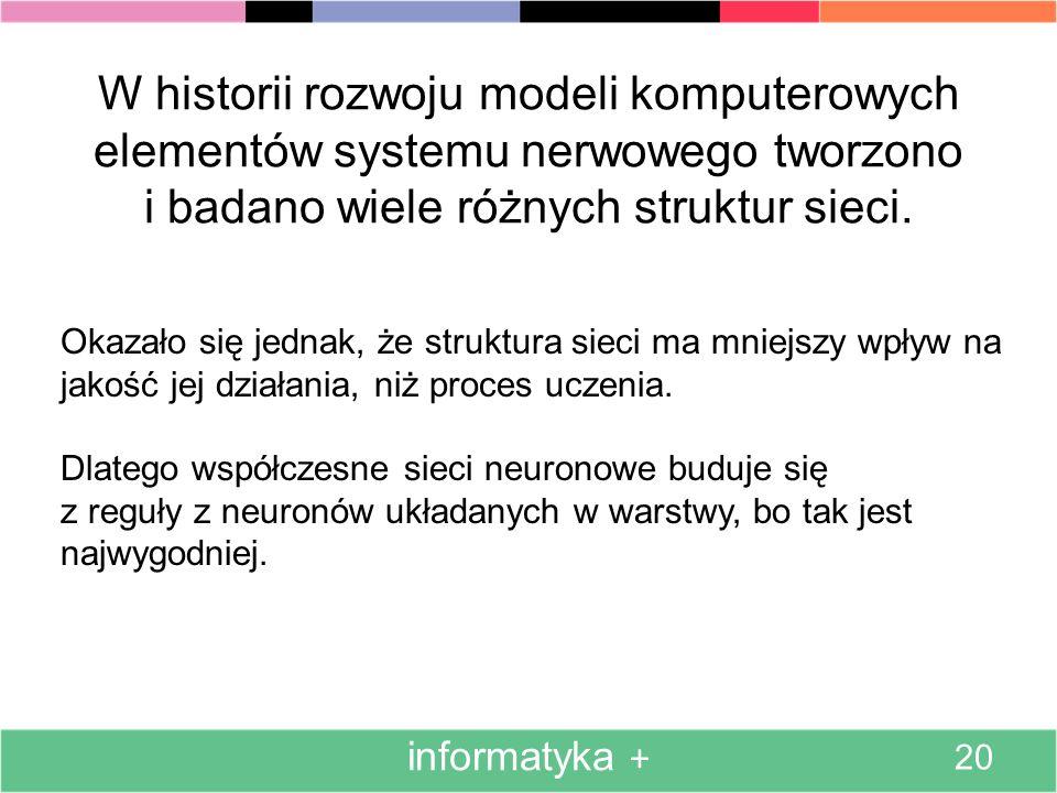 W historii rozwoju modeli komputerowych elementów systemu nerwowego tworzono i badano wiele różnych struktur sieci.