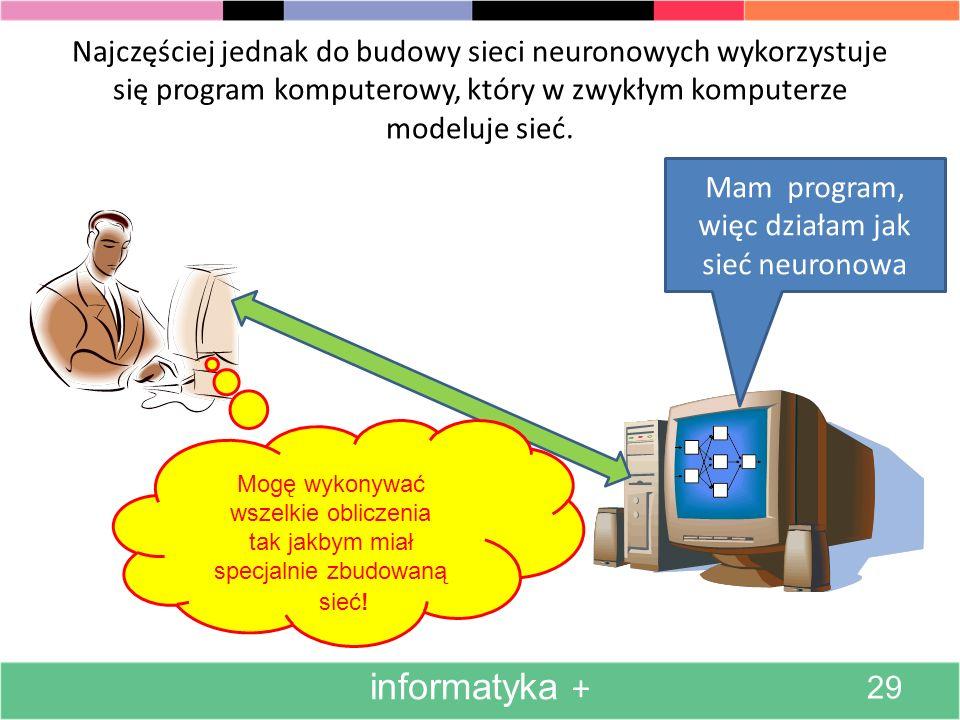 Mam program, więc działam jak sieć neuronowa