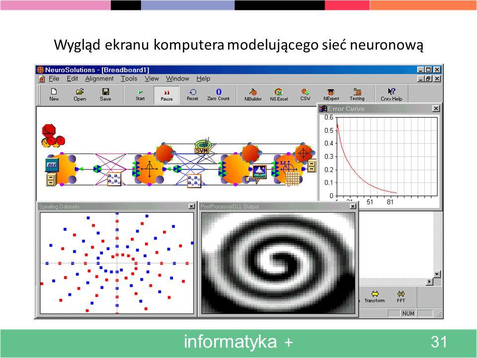 Wygląd ekranu komputera modelującego sieć neuronową