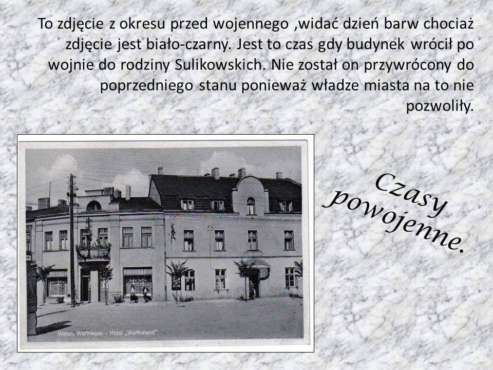 To zdjęcie z okresu przed wojennego ,widać dzień barw chociaż zdjęcie jest biało-czarny. Jest to czas gdy budynek wrócił po wojnie do rodziny Sulikowskich. Nie został on przywrócony do poprzedniego stanu ponieważ władze miasta na to nie pozwoliły.