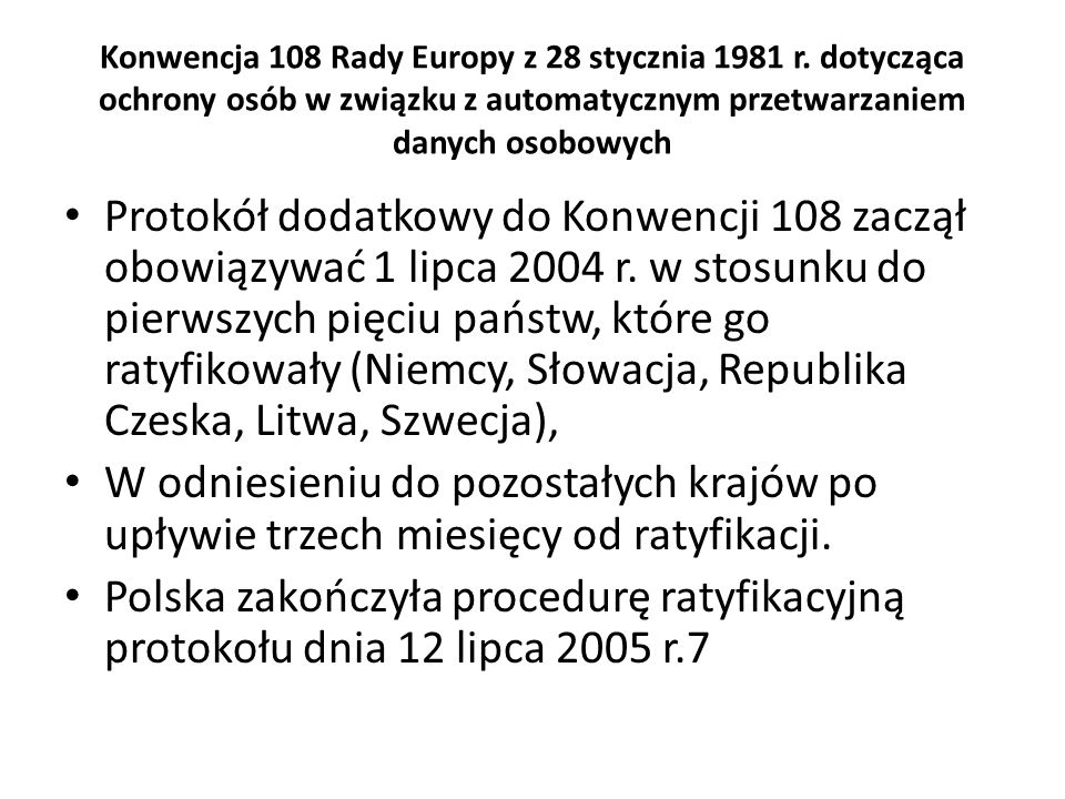 Konwencja 108 Rady Europy z 28 stycznia 1981 r