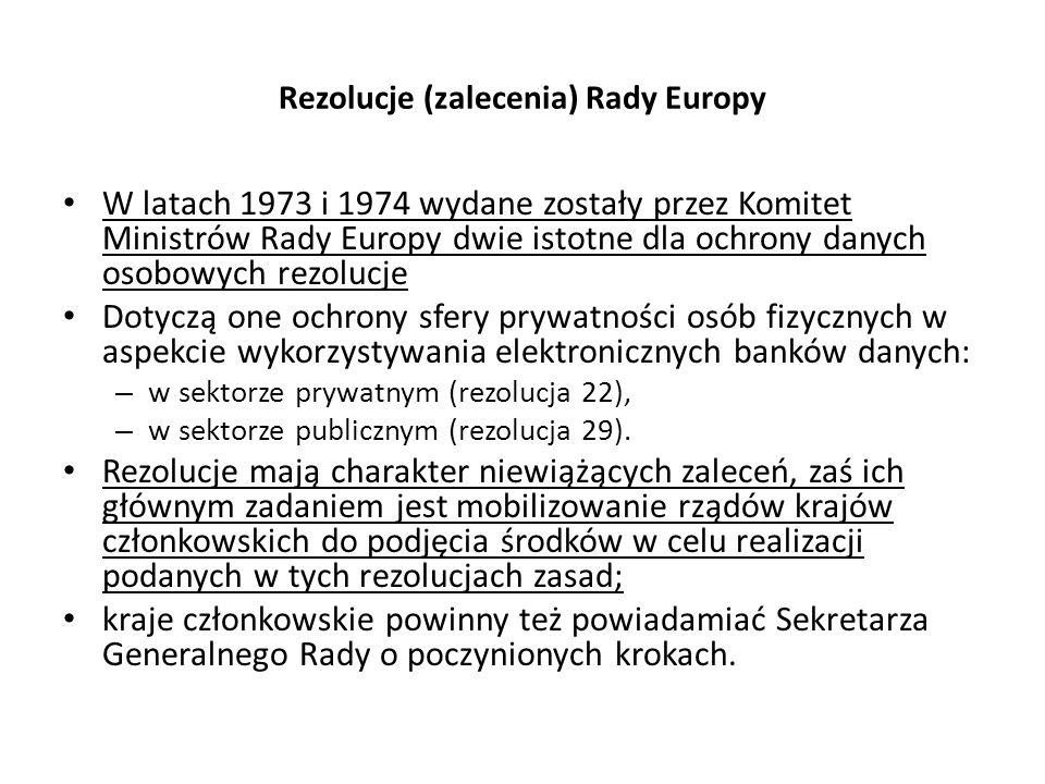 Rezolucje (zalecenia) Rady Europy