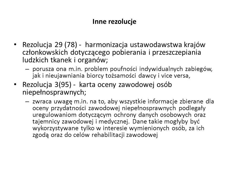 Rezolucja 3(95) - karta oceny zawodowej osób niepełnosprawnych;