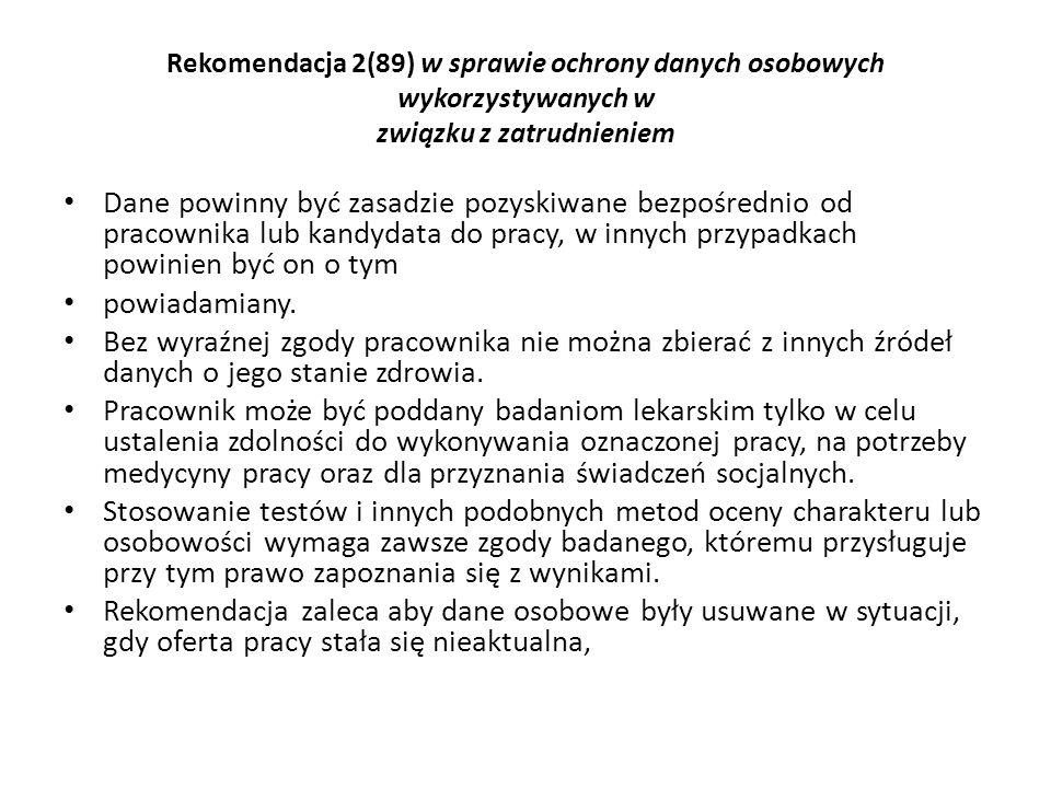 Rekomendacja 2(89) w sprawie ochrony danych osobowych wykorzystywanych w związku z zatrudnieniem