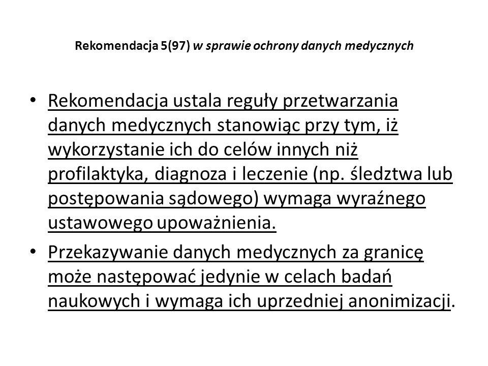 Rekomendacja 5(97) w sprawie ochrony danych medycznych