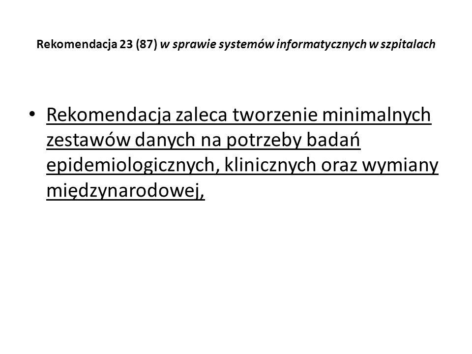 Rekomendacja 23 (87) w sprawie systemów informatycznych w szpitalach