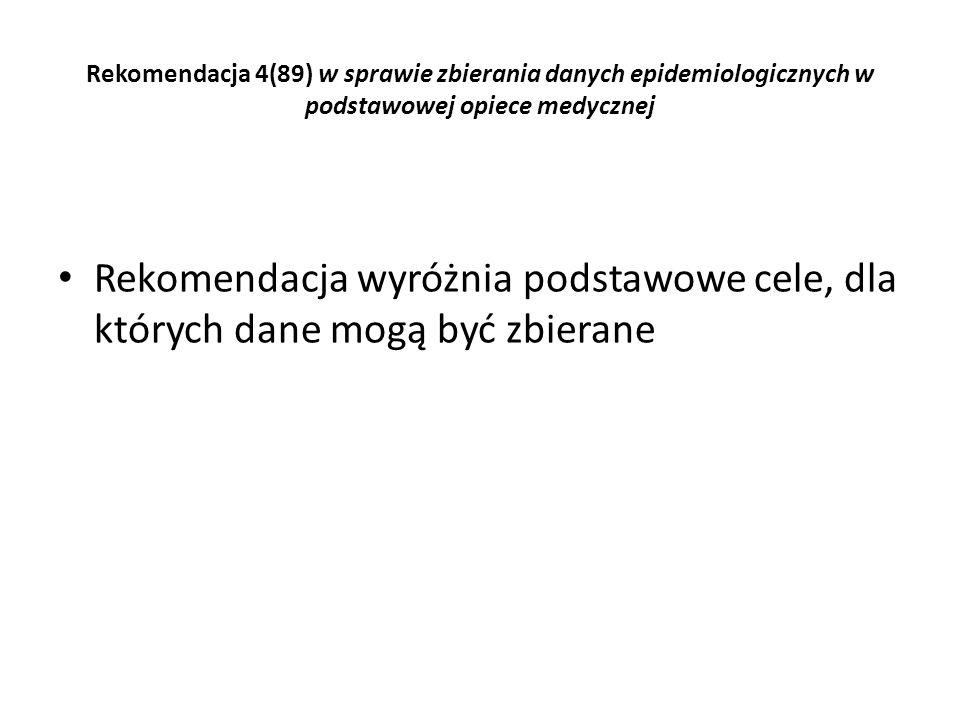 Rekomendacja 4(89) w sprawie zbierania danych epidemiologicznych w podstawowej opiece medycznej