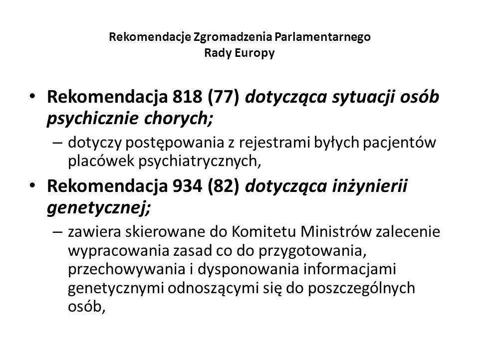 Rekomendacje Zgromadzenia Parlamentarnego Rady Europy