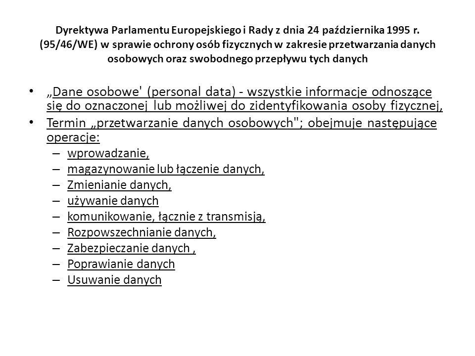 Dyrektywa Parlamentu Europejskiego i Rady z dnia 24 października 1995 r. (95/46/WE) w sprawie ochrony osób fizycznych w zakresie przetwarzania danych osobowych oraz swobodnego przepływu tych danych