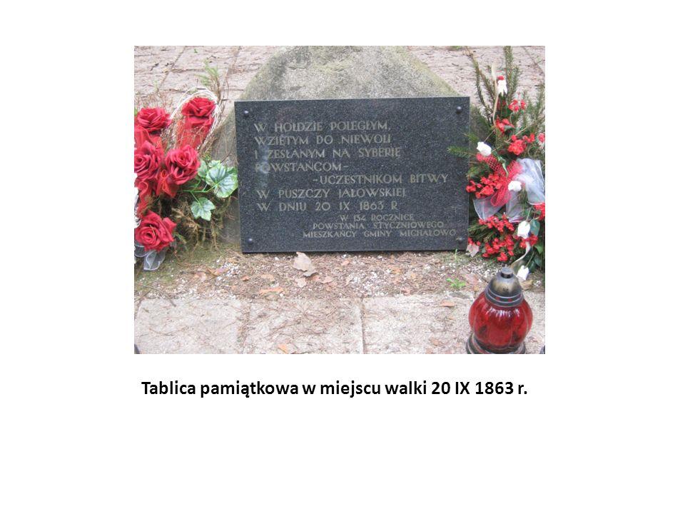 Tablica pamiątkowa w miejscu walki 20 IX 1863 r.