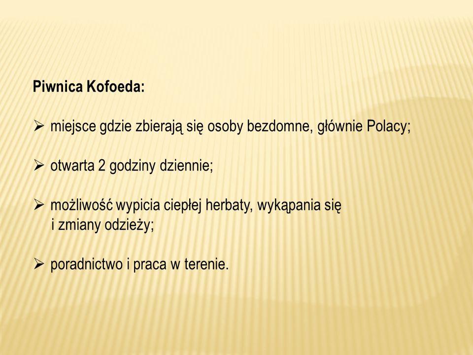 Piwnica Kofoeda: miejsce gdzie zbierają się osoby bezdomne, głównie Polacy; otwarta 2 godziny dziennie;