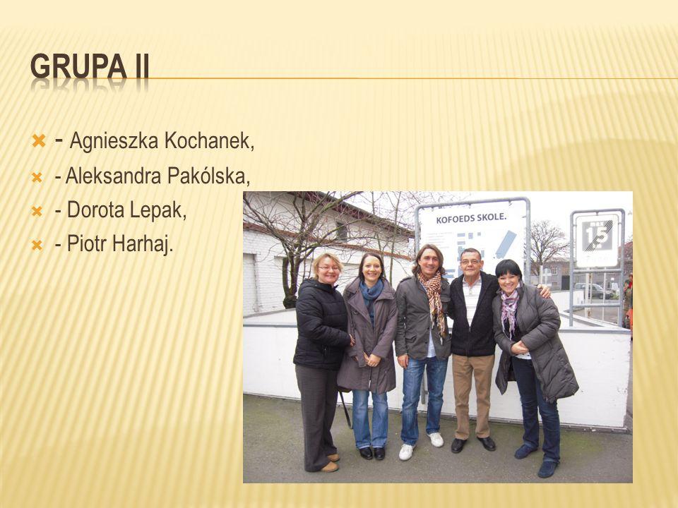 GRUPA ii - Agnieszka Kochanek, - Aleksandra Pakólska, - Dorota Lepak,