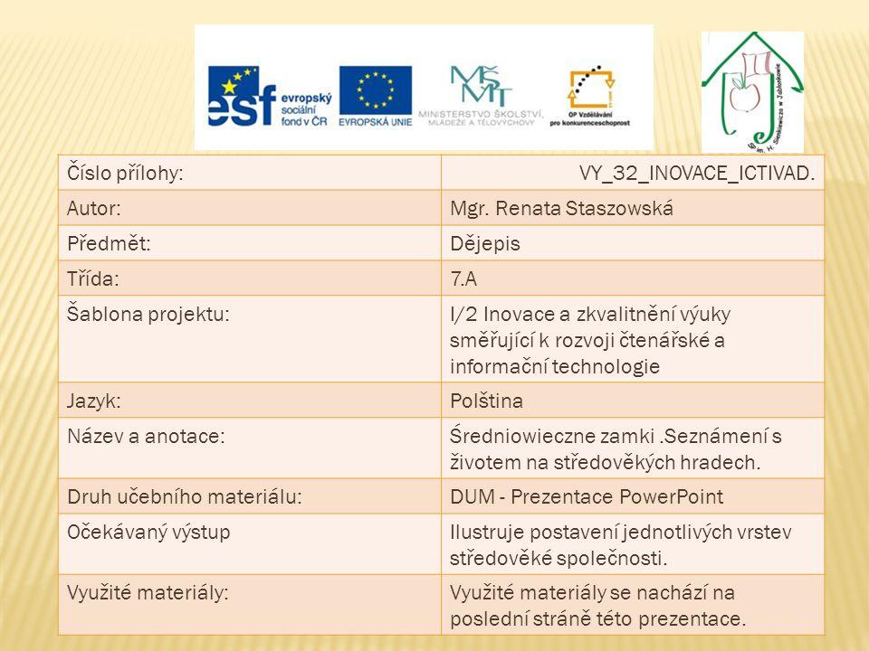 Číslo přílohy: VY_32_INOVACE_ICTIVAD. Autor: Mgr. Renata Staszowská. Předmět: Dějepis. Třída: 7.A.