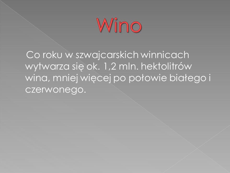 Wino Co roku w szwajcarskich winnicach wytwarza się ok. 1,2 mln. hektolitrów wina, mniej więcej po połowie białego i czerwonego.