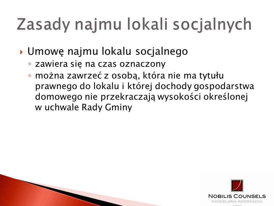 Zasady najmu lokali socjalnych