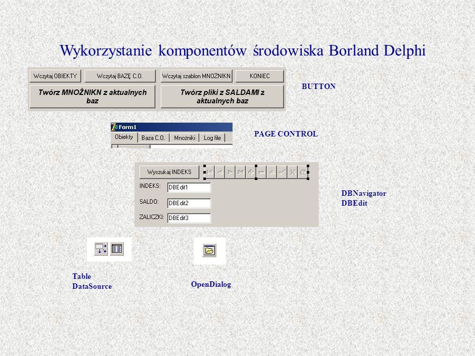 Wykorzystanie komponentów środowiska Borland Delphi