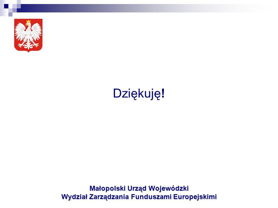 Dziękuję! Małopolski Urząd Wojewódzki Wydział Zarządzania Funduszami Europejskimi