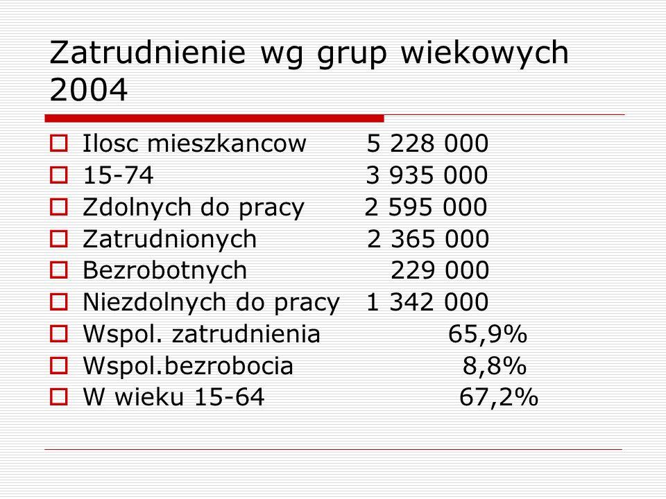 Zatrudnienie wg grup wiekowych 2004
