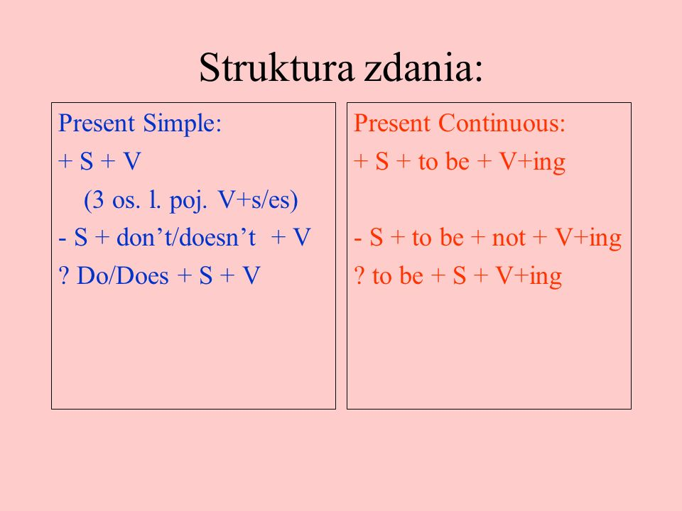 S: Present Simple vs Present Continuous.