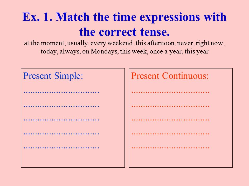 Ex. 1. Match the time expressions with the correct tense