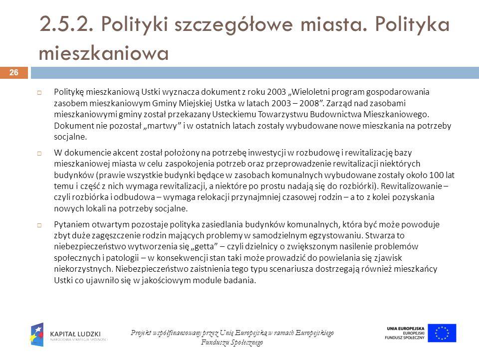 2.5.2. Polityki szczegółowe miasta. Polityka mieszkaniowa