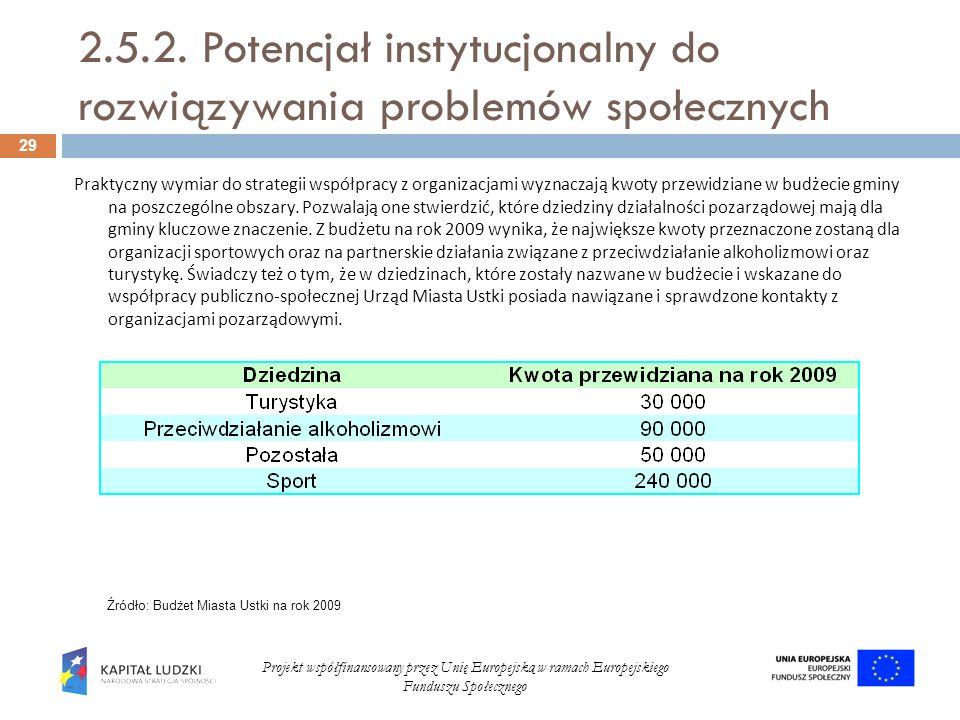 2.5.2. Potencjał instytucjonalny do rozwiązywania problemów społecznych