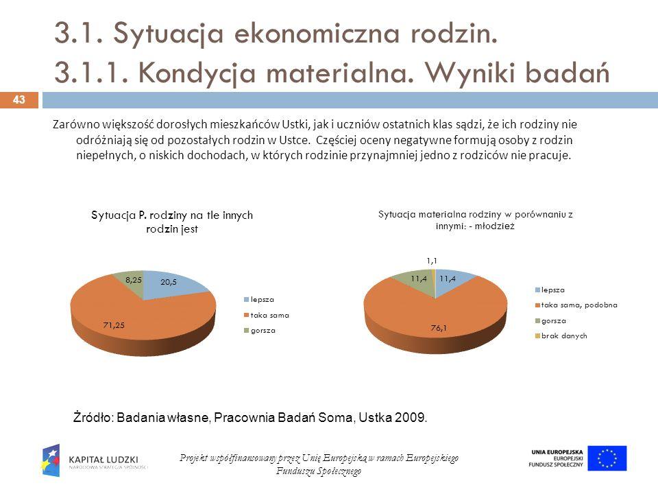 3. 1. Sytuacja ekonomiczna rodzin. 3. 1. 1. Kondycja materialna