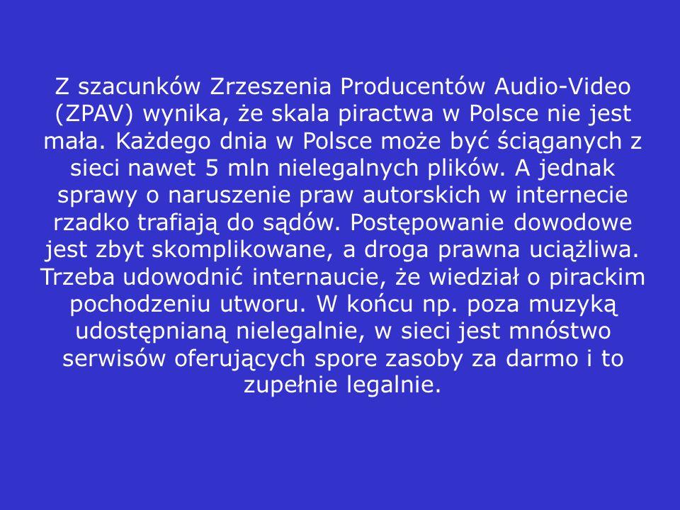 Z szacunków Zrzeszenia Producentów Audio-Video (ZPAV) wynika, że skala piractwa w Polsce nie jest mała.