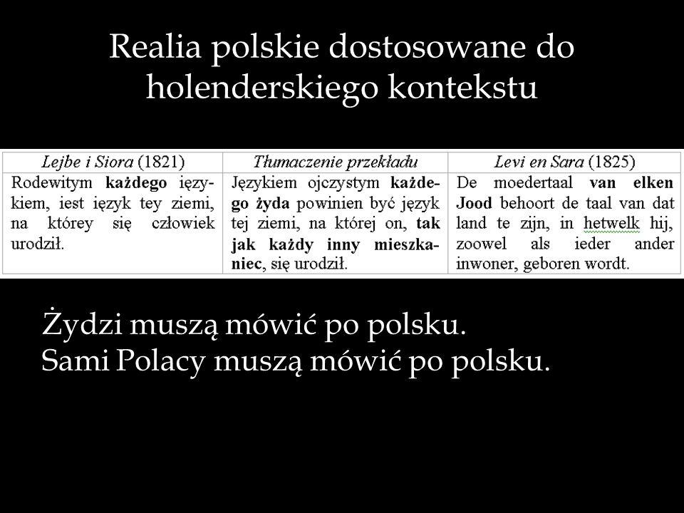 Realia polskie dostosowane do holenderskiego kontekstu