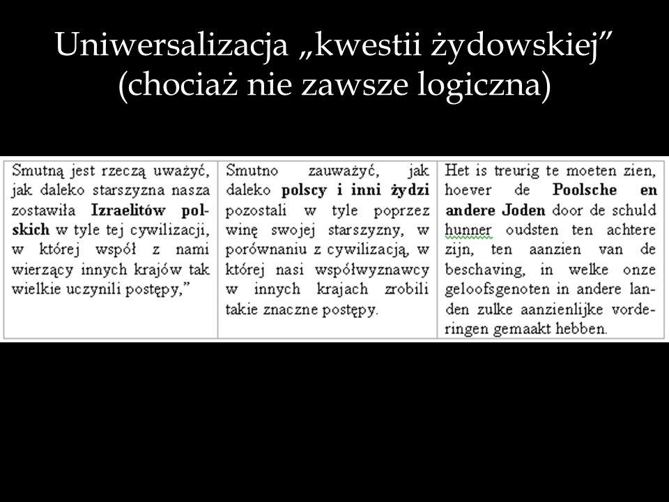 """Uniwersalizacja """"kwestii żydowskiej (chociaż nie zawsze logiczna)"""