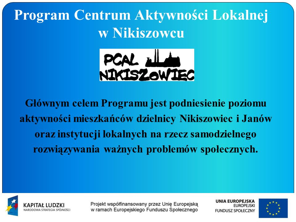 Program Centrum Aktywności Lokalnej w Nikiszowcu