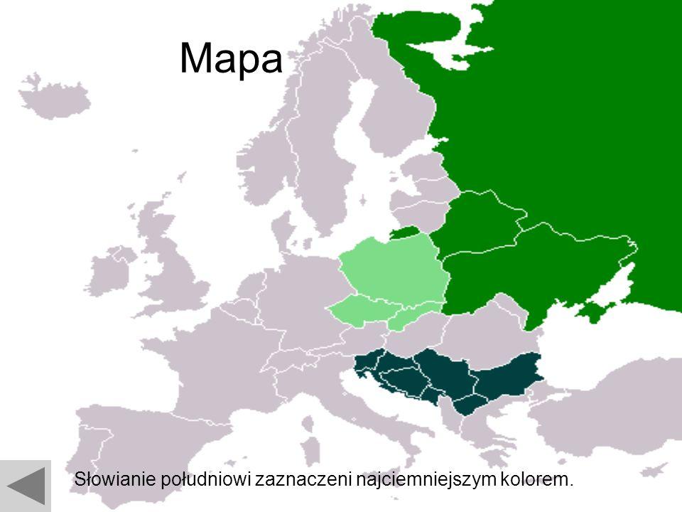 Mapa Słowianie południowi zaznaczeni najciemniejszym kolorem.