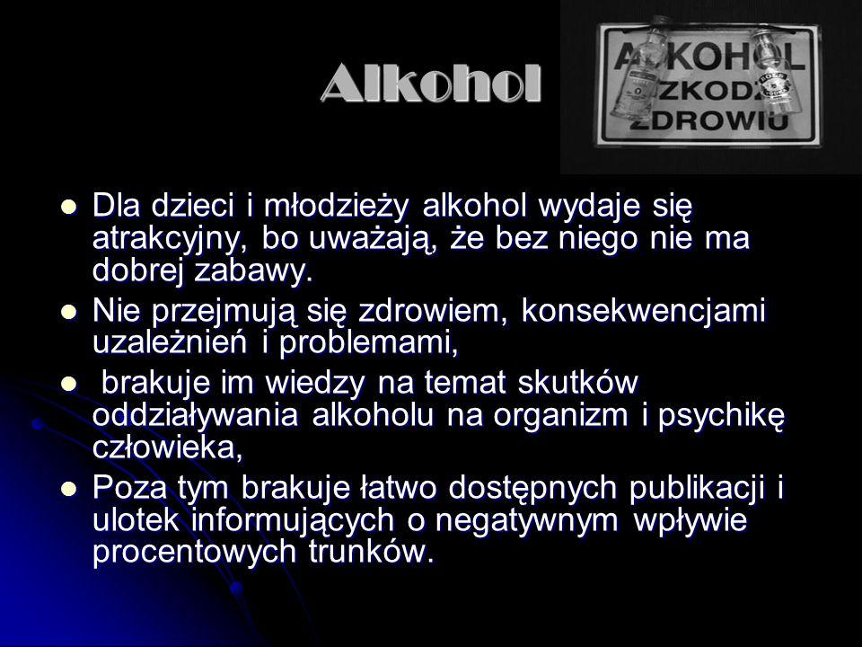 Alkohol Dla dzieci i młodzieży alkohol wydaje się atrakcyjny, bo uważają, że bez niego nie ma dobrej zabawy.