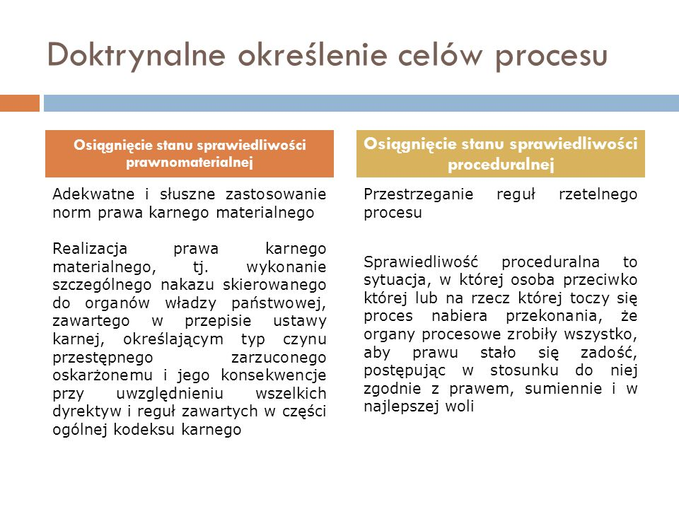 Doktrynalne określenie celów procesu