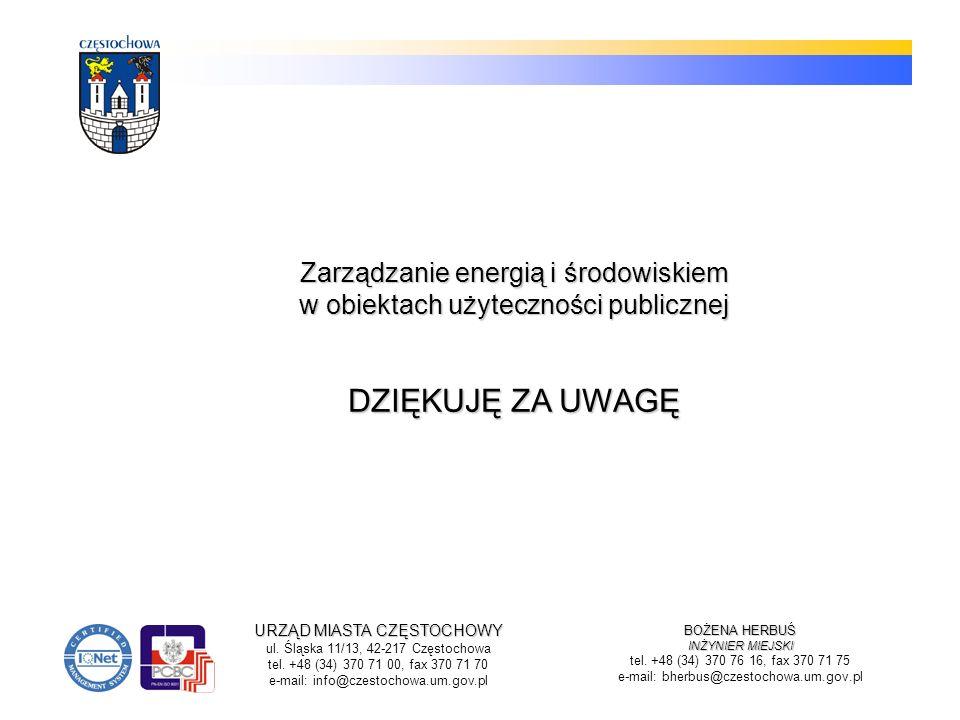 Zarządzanie energią i środowiskiem w obiektach użyteczności publicznej DZIĘKUJĘ ZA UWAGĘ
