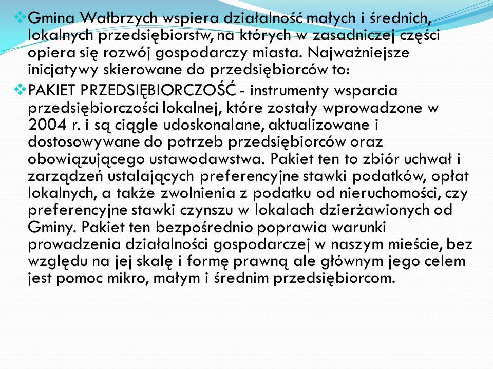 Gmina Wałbrzych wspiera działalność małych i średnich, lokalnych przedsiębiorstw, na których w zasadniczej części opiera się rozwój gospodarczy miasta. Najważniejsze inicjatywy skierowane do przedsiębiorców to: