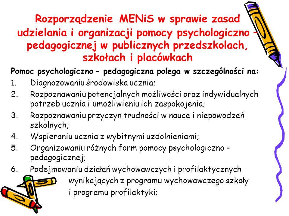Rozporządzenie MENiS w sprawie zasad udzielania i organizacji pomocy psychologiczno – pedagogicznej w publicznych przedszkolach, szkołach i placówkach