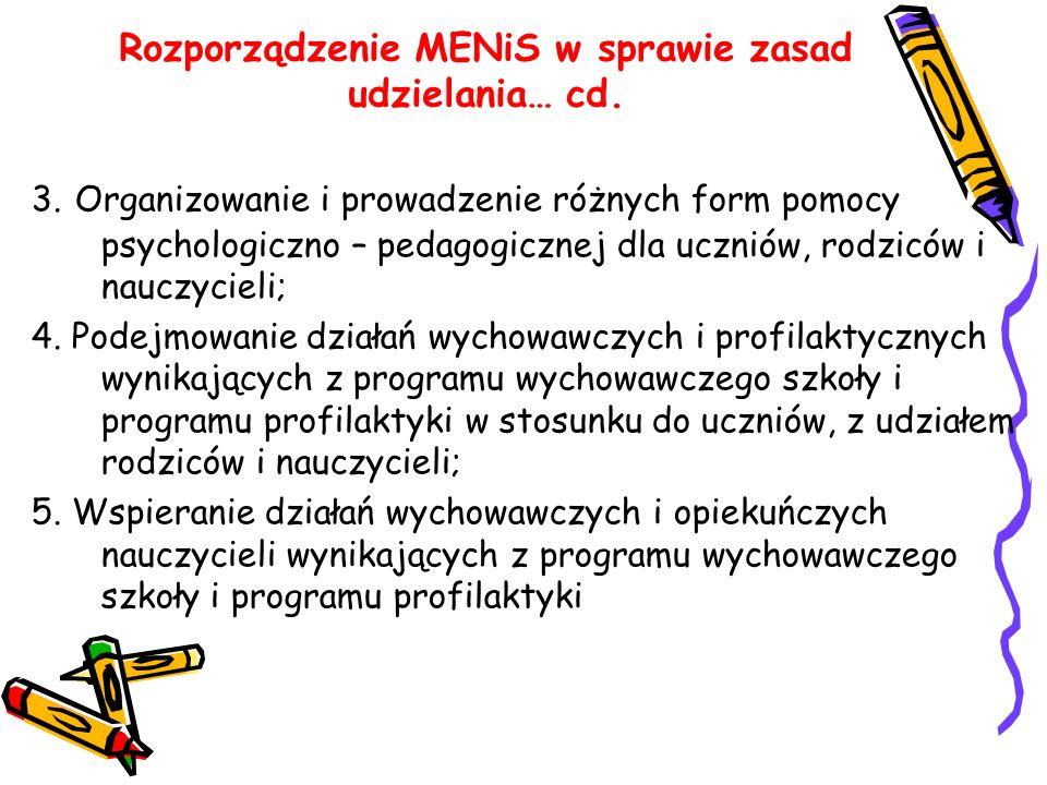 Rozporządzenie MENiS w sprawie zasad udzielania… cd.
