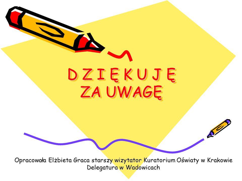 D Z I Ę K U J Ę ZA UWAGĘ Opracowała Elżbieta Graca starszy wizytator Kuratorium Oświaty w Krakowie Delegatura w Wadowicach.