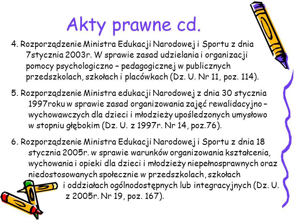 Akty prawne cd. 4. Rozporządzenie Ministra Edukacji Narodowej i Sportu z dnia. 7stycznia 2003r. W sprawie zasad udzielania i organizacji.