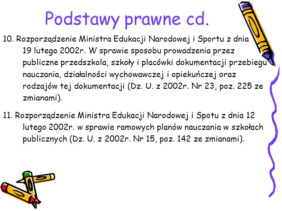 Podstawy prawne cd. 10. Rozporządzenie Ministra Edukacji Narodowej i Sportu z dnia. 19 lutego 2002r. W sprawie sposobu prowadzenia przez.