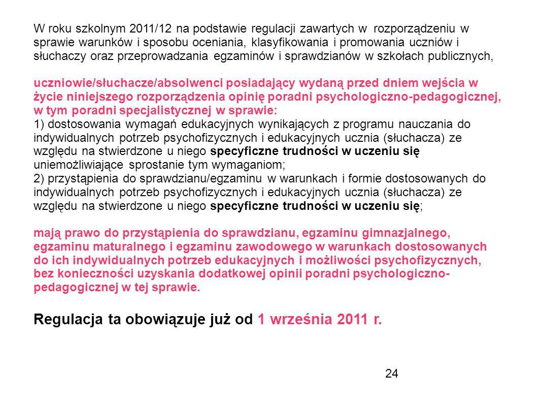 Regulacja ta obowiązuje już od 1 września 2011 r.
