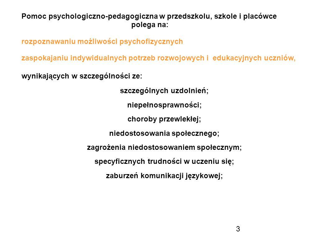 szczególnych uzdolnień; niepełnosprawności; choroby przewlekłej;