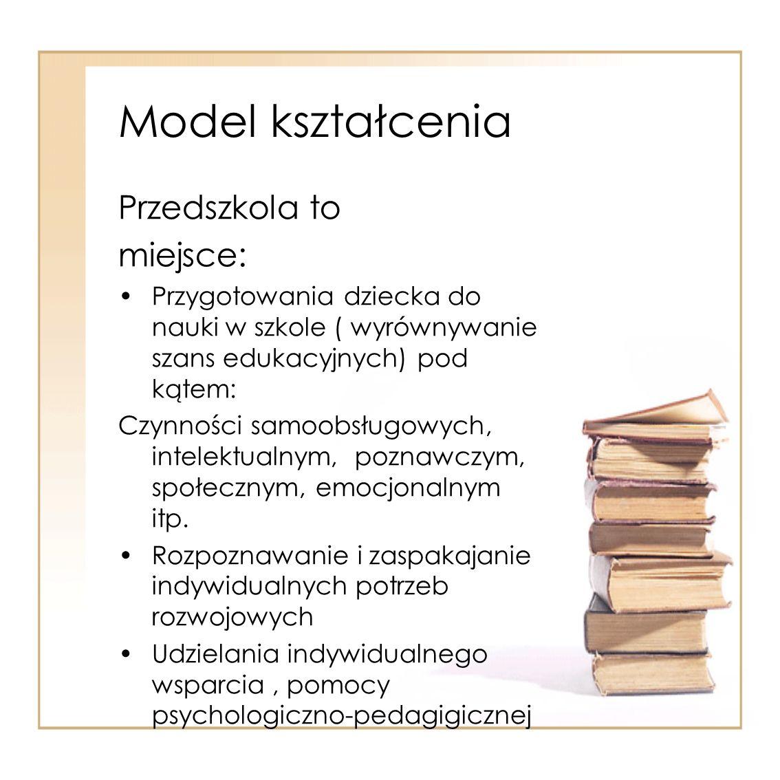 Model kształcenia Przedszkola to miejsce: