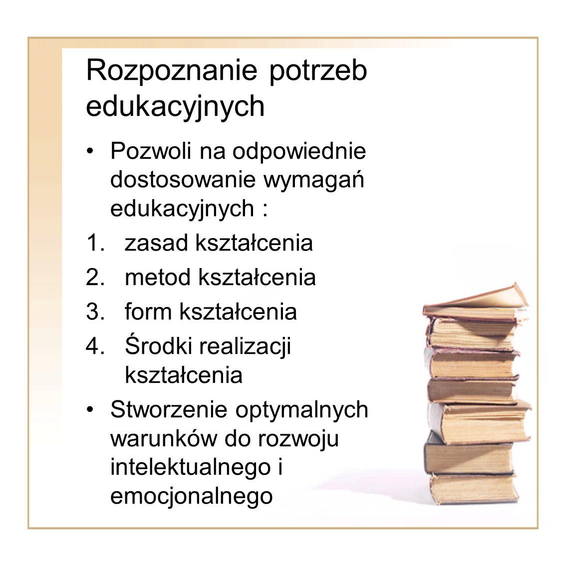 Rozpoznanie potrzeb edukacyjnych