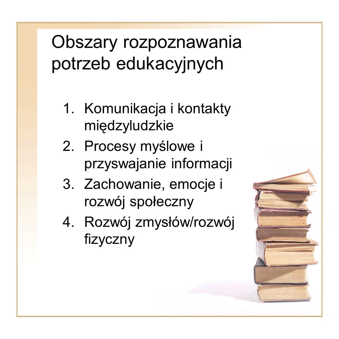 Obszary rozpoznawania potrzeb edukacyjnych