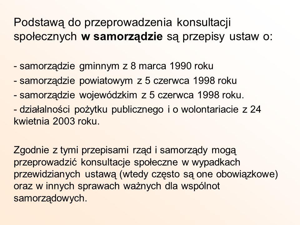 Podstawą do przeprowadzenia konsultacji społecznych w samorządzie są przepisy ustaw o: