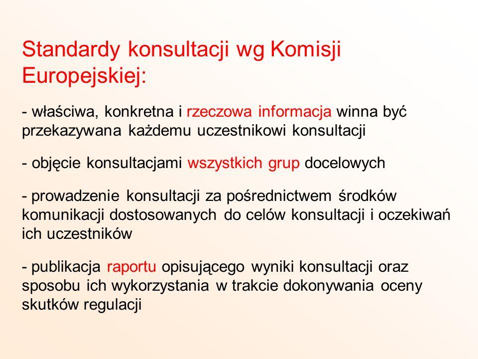 Standardy konsultacji wg Komisji Europejskiej: